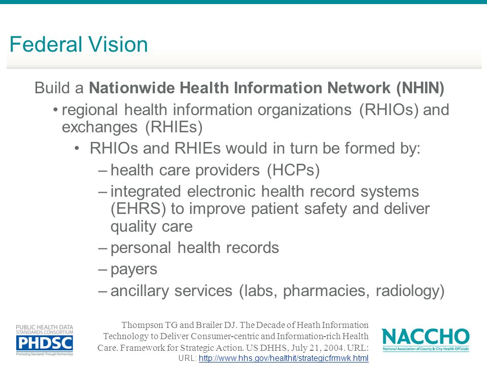 Build a Nationwide Health Information Network (NHIN) regional health information organizations (RHIOs) and exchanges (RHIEs) RHIOs and RHIEs would in turn be formed by: –health care providers (HCPs) –integrated electronic health record systems (EHRS) to improve patient safety and deliver quality care –personal health records –payers –ancillary services (labs, pharmacies, radiology) Thompson TG and Brailer DJ.