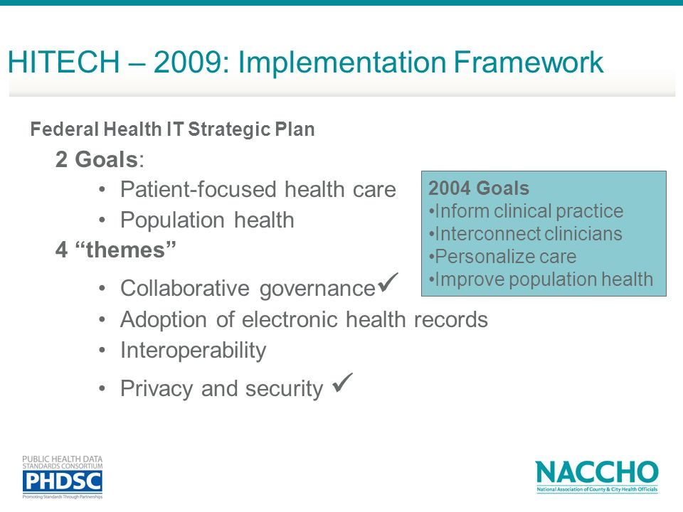 HITECH – 2009: Implementation Framework Federal Health IT Strategic Plan 2 Goals: Patient-focused health care Population health 4 themes Collaborative