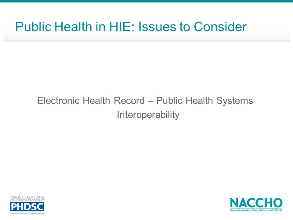Electronic Health Record – Public Health Systems Interoperability Public Health in HIE: Issues to Consider