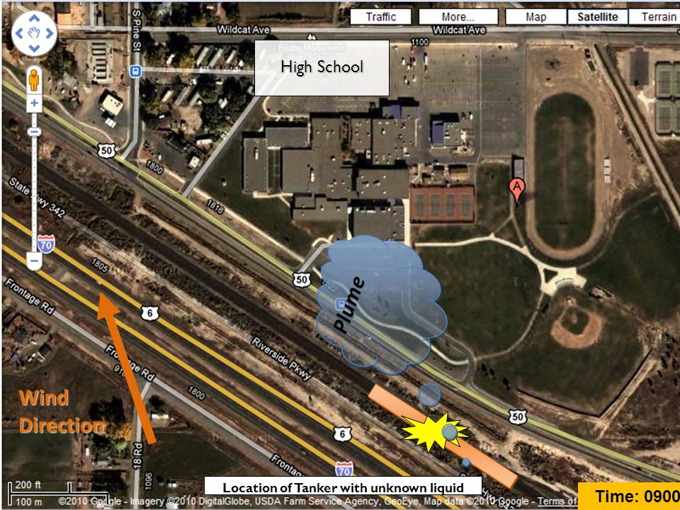Plume Wind Direction High School Location of Tanker with unknown liquid Time: 0900