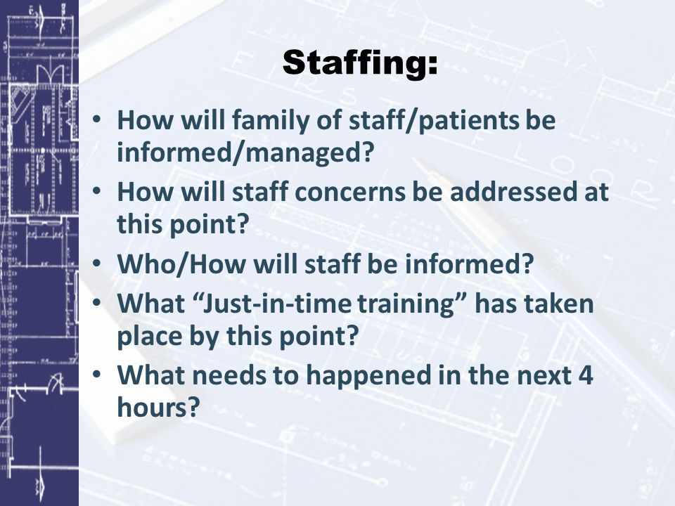 Staffing: How will family of staff/patients be informed/managed.