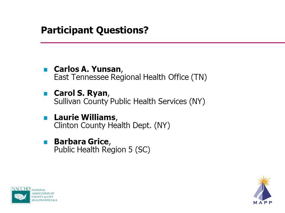 Carlos A.Yunsan, East Tennessee Regional Health Office (TN) Carol S.