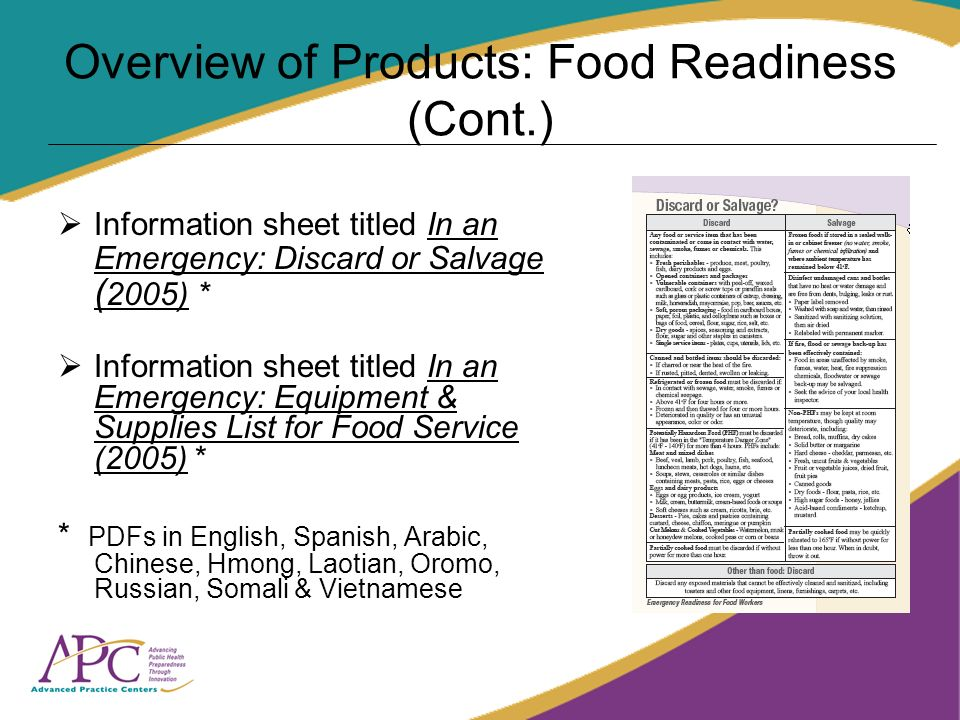 Overview of Products: Food Readiness (Cont.) Information sheet titled In an Emergency: Discard or Salvage ( 2005) * Information sheet titled In an Eme
