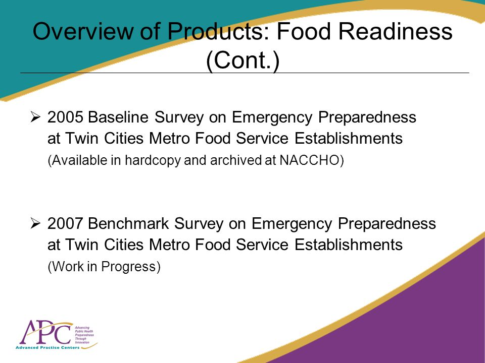 Overview of Products: Food Readiness (Cont.) 2005 Baseline Survey on Emergency Preparedness at Twin Cities Metro Food Service Establishments (Availabl