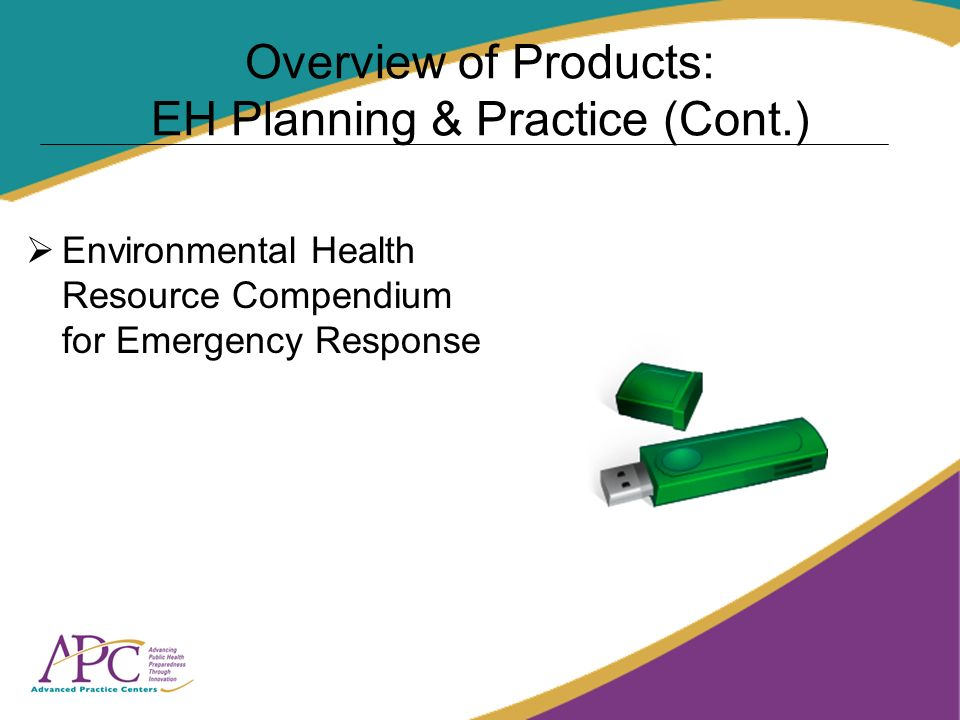 Overview of Products: EH Planning & Practice (Cont.) Environmental Health Resource Compendium for Emergency Response