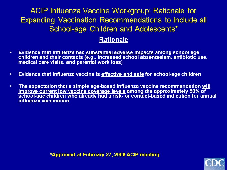 ACIP Influenza Vaccine Workgroup: Rationale for Expanding Vaccination Recommendations to Include all School-age Children and Adolescents* Rationale Evidence that influenza has substantial adverse impacts among school age children and their contacts (e.g., increased school absenteeism, antibiotic use, medical care visits, and parental work loss) Evidence that influenza vaccine is effective and safe for school-age children The expectation that a simple age-based influenza vaccine recommendation will improve current low vaccine coverage levels among the approximately 50% of school-age children who already had a risk- or contact-based indication for annual influenza vaccination *Approved at February 27, 2008 ACIP meeting