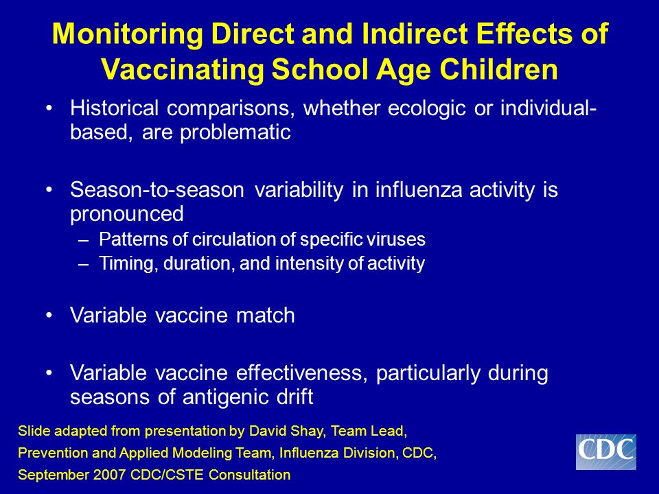 Monitoring Direct and Indirect Effects of Vaccinating School Age Children Historical comparisons, whether ecologic or individual- based, are problematic Season-to-season variability in influenza activity is pronounced –Patterns of circulation of specific viruses –Timing, duration, and intensity of activity Variable vaccine match Variable vaccine effectiveness, particularly during seasons of antigenic drift Slide adapted from presentation by David Shay, Team Lead, Prevention and Applied Modeling Team, Influenza Division, CDC, September 2007 CDC/CSTE Consultation