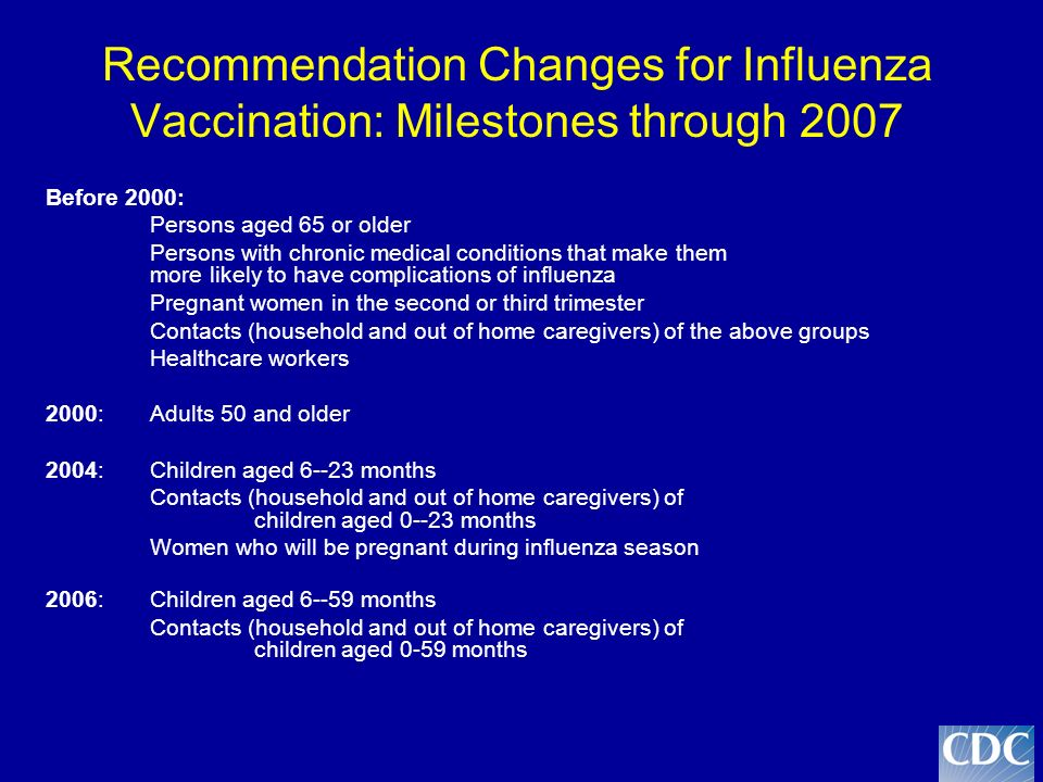 Recommendation Changes for Influenza Vaccination: Milestones through 2007 Before 2000: Persons aged 65 or older Persons with chronic medical conditions that make them more likely to have complications of influenza Pregnant women in the second or third trimester Contacts (household and out of home caregivers) of the above groups Healthcare workers 2000: Adults 50 and older 2004: Children aged 6--23 months Contacts (household and out of home caregivers) of children aged 0--23 months Women who will be pregnant during influenza season 2006: Children aged 6--59 months Contacts (household and out of home caregivers) of children aged 0-59 months