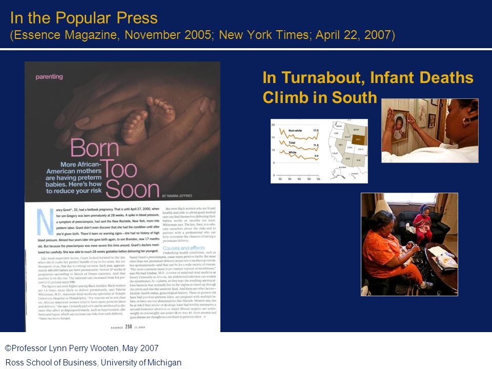 ©Professor Lynn Perry Wooten, May 2007 Ross School of Business, University of Michigan Partnership with Faith Community African Methodist Episcopal ministers wives and widows alliance – Supporting Kids and Infants Into a New Generation Grant from March of Dimes to fund: Infant Mortality Curriculum Vitamins for Brides kits Baby Showers and Baskets for Expecting Parents Oral Health Initiative for Pregnant Women