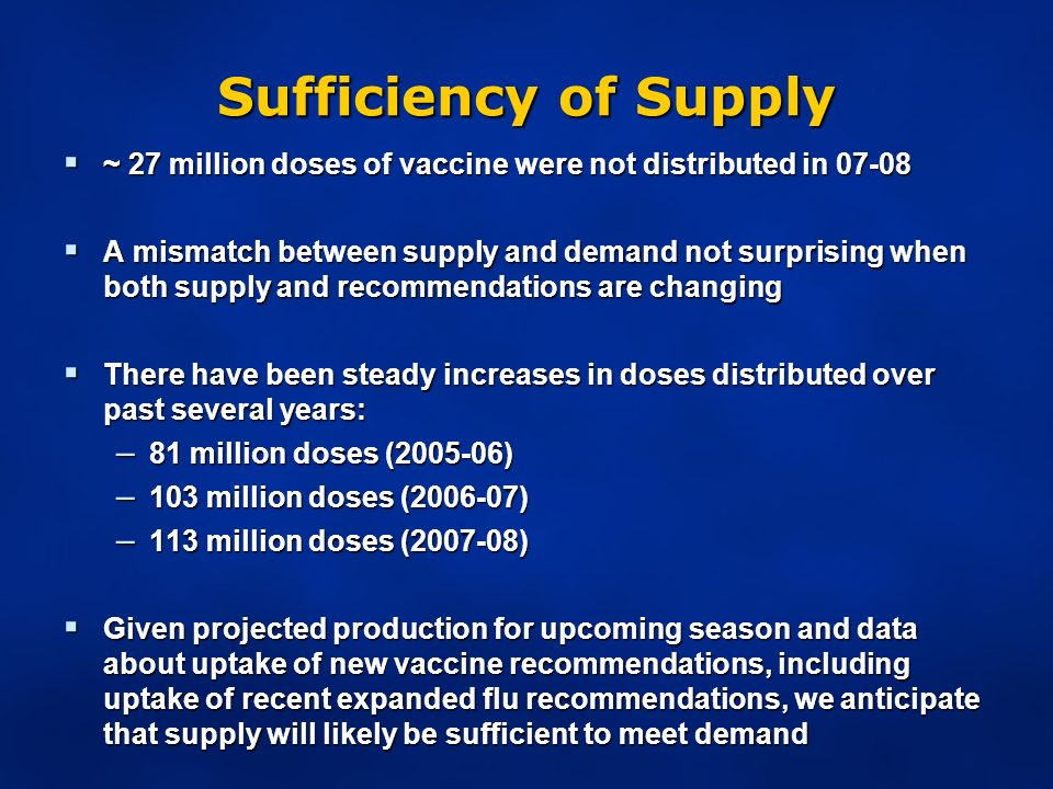 Sufficiency of Supply ~ 27 million doses of vaccine were not distributed in ~ 27 million doses of vaccine were not distributed in A mismatch between supply and demand not surprising when both supply and recommendations are changing A mismatch between supply and demand not surprising when both supply and recommendations are changing There have been steady increases in doses distributed over past several years: There have been steady increases in doses distributed over past several years: – 81 million doses ( ) – 103 million doses ( ) – 113 million doses ( ) Given projected production for upcoming season and data about uptake of new vaccine recommendations, including uptake of recent expanded flu recommendations, we anticipate that supply will likely be sufficient to meet demand Given projected production for upcoming season and data about uptake of new vaccine recommendations, including uptake of recent expanded flu recommendations, we anticipate that supply will likely be sufficient to meet demand