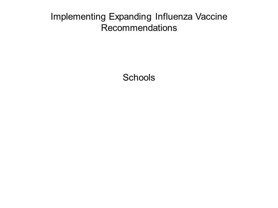 Implementing Expanding Influenza Vaccine Recommendations Schools