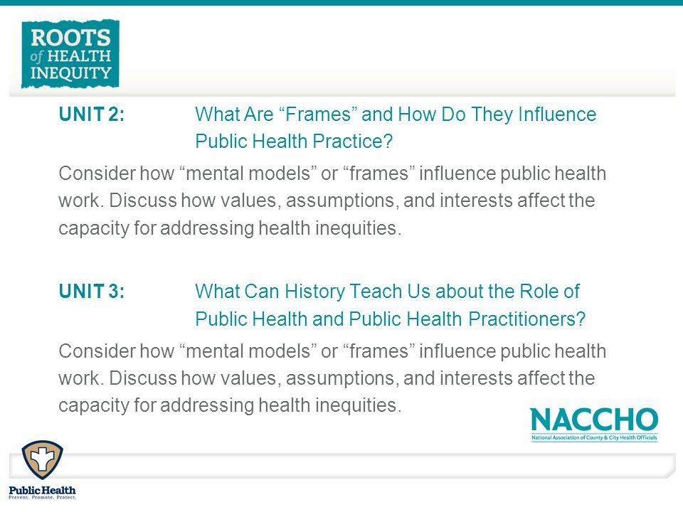 UNIT 2: What Are Frames and How Do They Influence Public Health Practice.