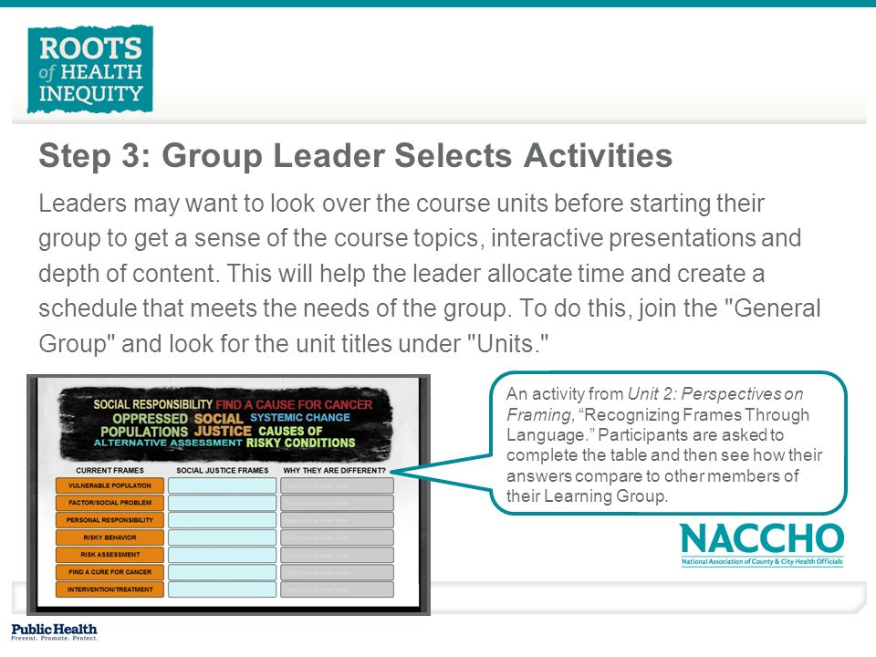 Step 3: Group Leader Selects Activities Leaders may want to look over the course units before starting their group to get a sense of the course topics, interactive presentations and depth of content.