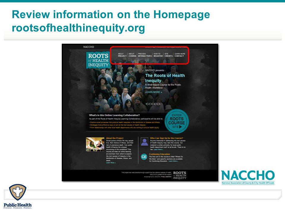 Review information on the Homepage rootsofhealthinequity.org