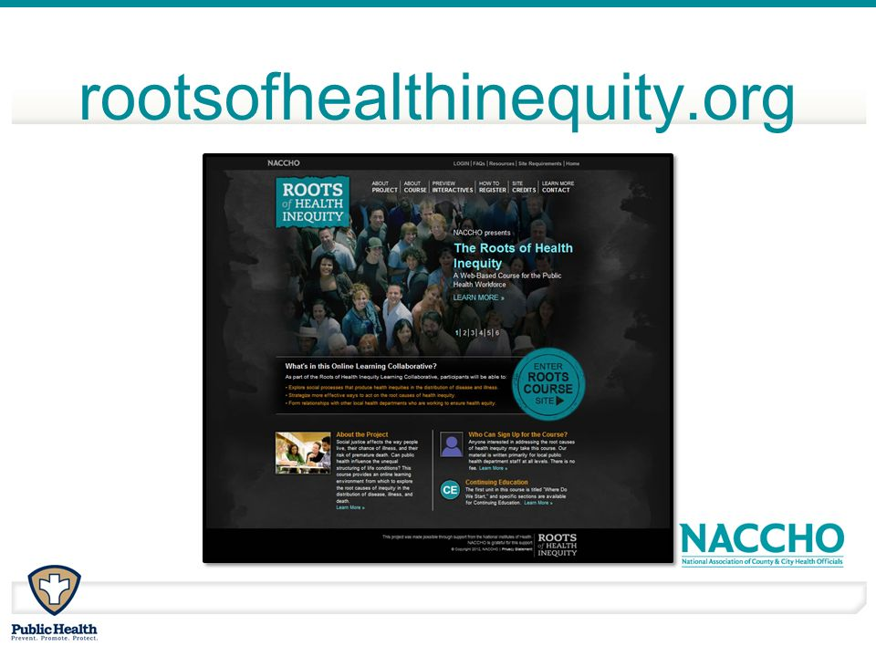 Contact for questions and concerns: rootsofhealthinequity@naccho.org