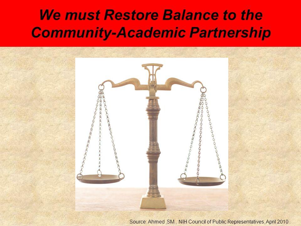 Rationale Contextual Rationale Community Rationale Academic Rationale Policy Rationale Source: Ahmed,SM, NIH Council of Public Representatives, April 2010.