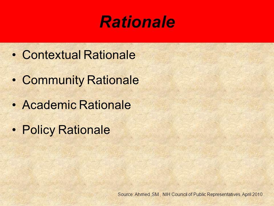 Contextual Rationale Interest in the contextual factors (e.g.