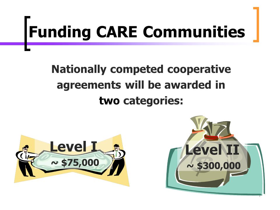 7 Funding CARE Communities Nationally competed cooperative agreements will be awarded in two categories: Level II ~ $300,000 Level I ~ $75,000