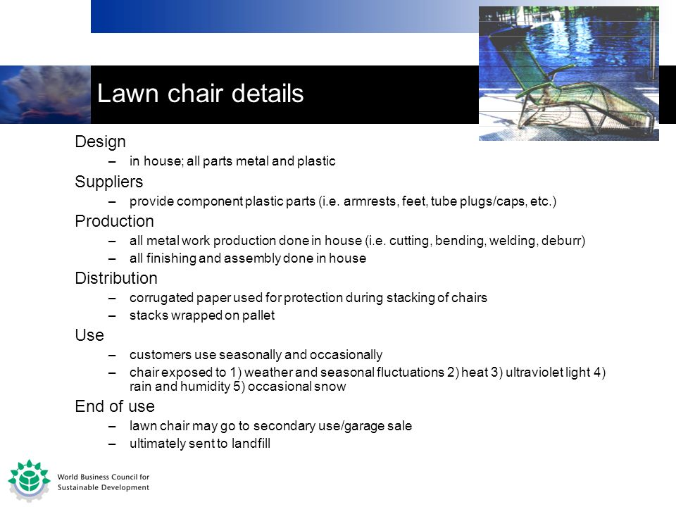 Lawn chair details Design –in house; all parts metal and plastic Suppliers –provide component plastic parts (i.e.