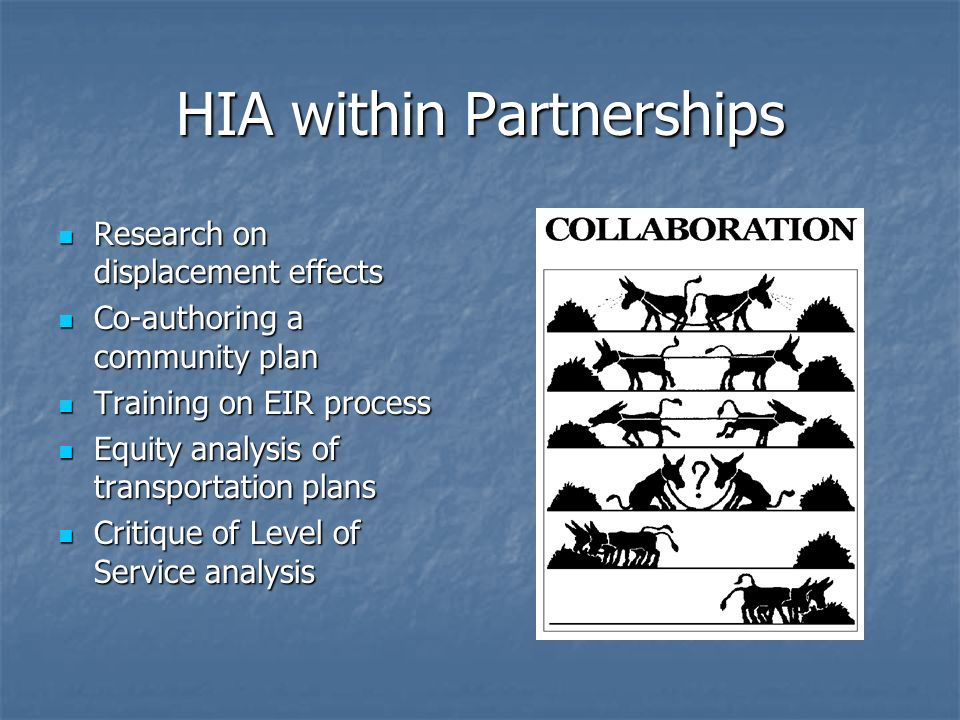 HIA within Partnerships Research on displacement effects Research on displacement effects Co-authoring a community plan Co-authoring a community plan Training on EIR process Training on EIR process Equity analysis of transportation plans Equity analysis of transportation plans Critique of Level of Service analysis Critique of Level of Service analysis