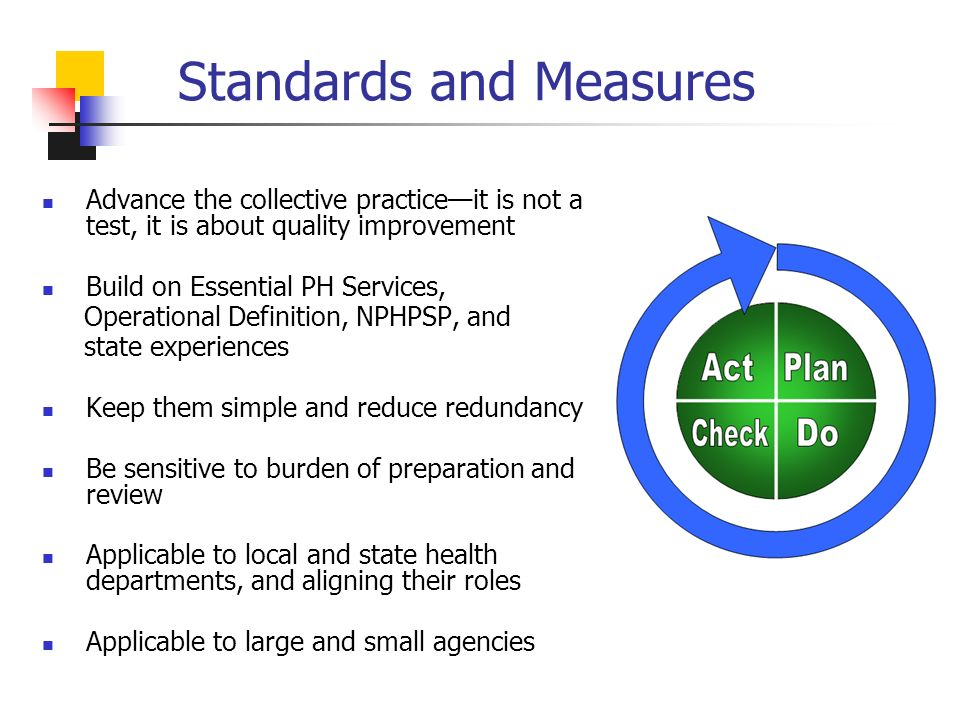 Standards and Measures Advance the collective practiceit is not a test, it is about quality improvement Build on Essential PH Services, Operational Definition, NPHPSP, and state experiences Keep them simple and reduce redundancy Be sensitive to burden of preparation and review Applicable to local and state health departments, and aligning their roles Applicable to large and small agencies