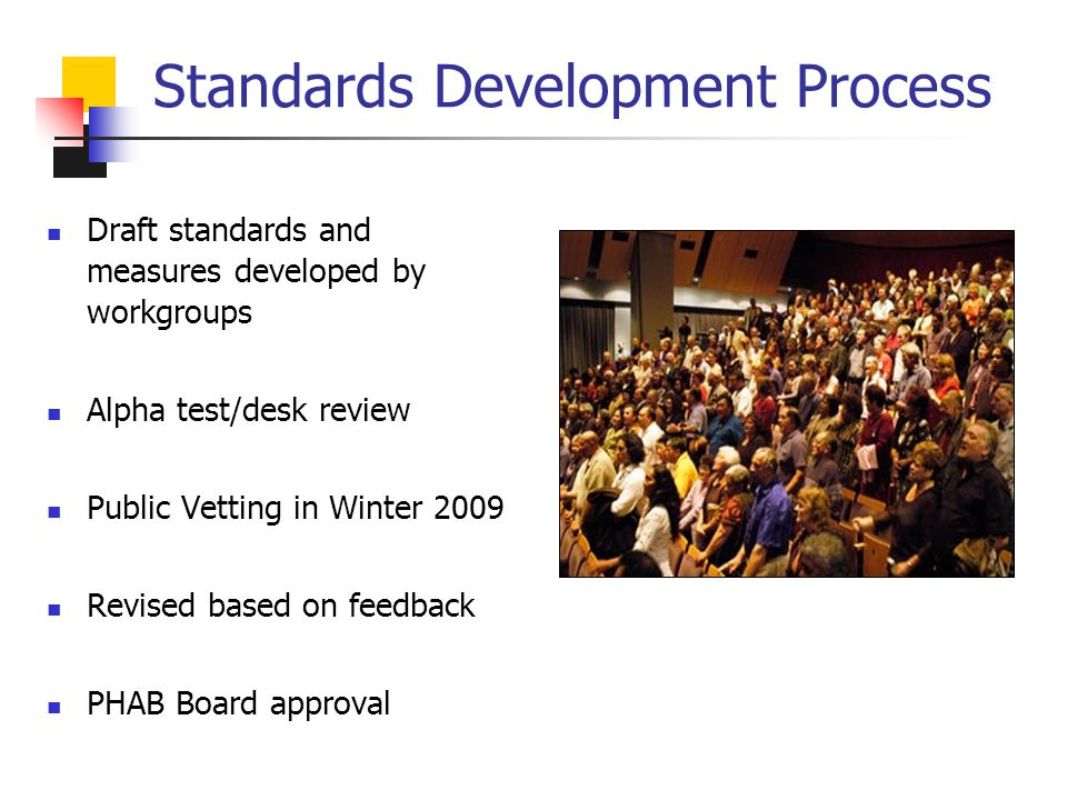Standards Development Process Draft standards and measures developed by workgroups Alpha test/desk review Public Vetting in Winter 2009 Revised based on feedback PHAB Board approval