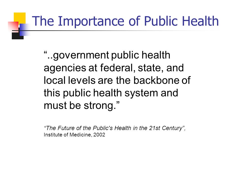 The Importance of Public Health..government public health agencies at federal, state, and local levels are the backbone of this public health system and must be strong.