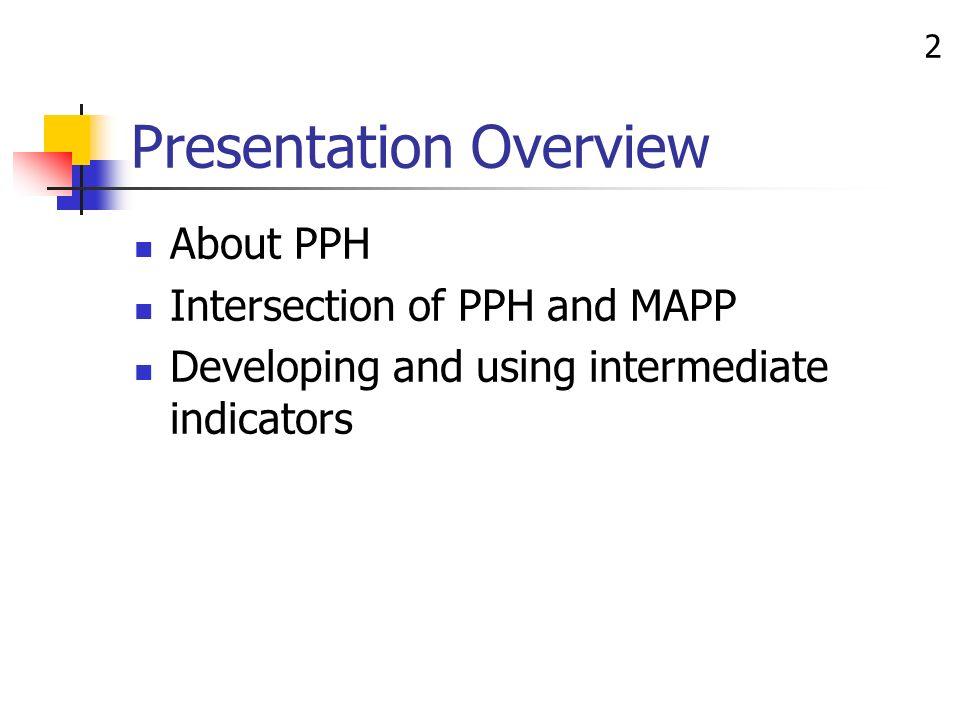3 PPH Approach 39 Partnerships PPH Initiative Public Health Departments (14) Community Groups (39, 2-3 per health dept) Program Office Grants Management Technical Assistance Communication Policy Evaluation