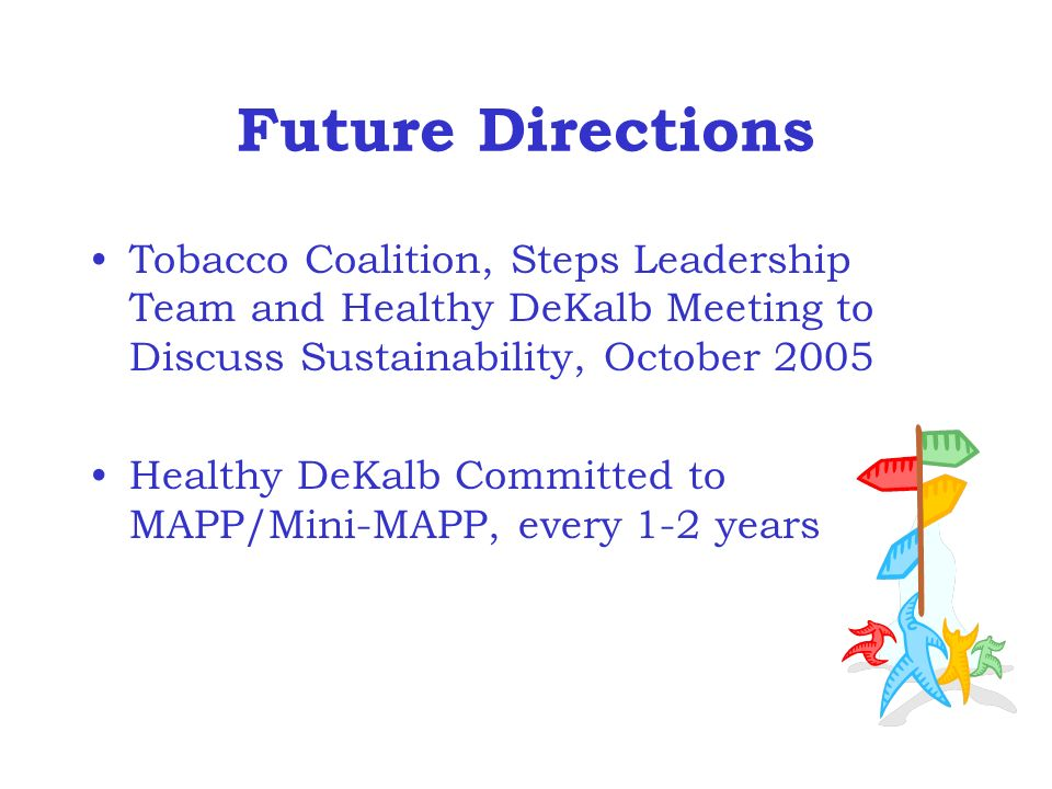 Future Directions Tobacco Coalition, Steps Leadership Team and Healthy DeKalb Meeting to Discuss Sustainability, October 2005 Healthy DeKalb Committed to MAPP/Mini-MAPP, every 1-2 years
