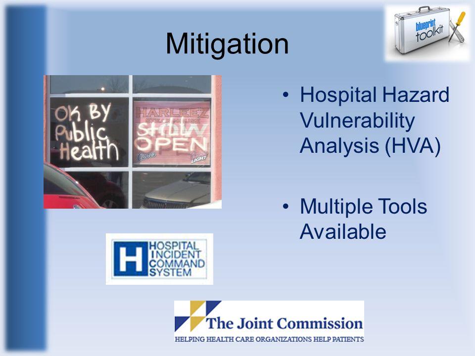 Mitigation Hospital Hazard Vulnerability Analysis (HVA) Multiple Tools Available