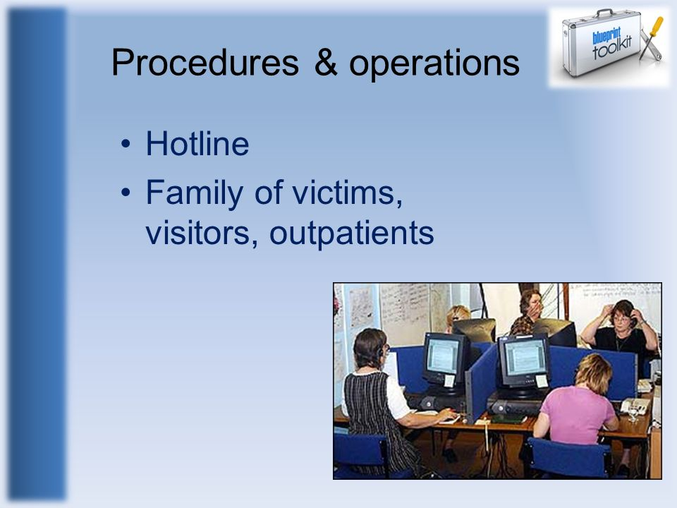 Procedures & operations Hotline Family of victims, visitors, outpatients
