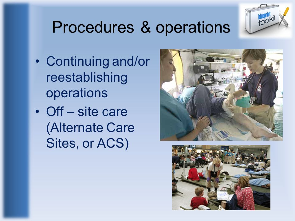 Procedures & operations Continuing and/or reestablishing operations Off – site care (Alternate Care Sites, or ACS)