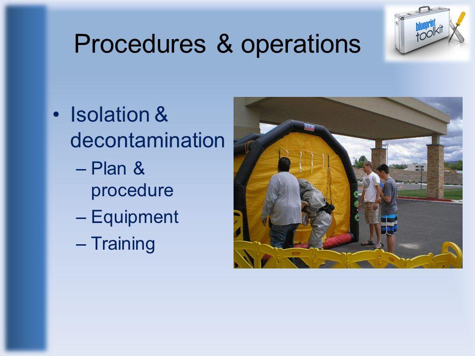 Procedures & operations Isolation & decontamination –Plan & procedure –Equipment –Training