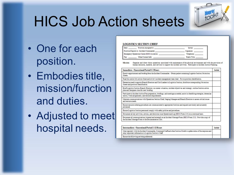 HICS Job Action sheets One for each position. Embodies title, mission/function and duties. Adjusted to meet hospital needs.