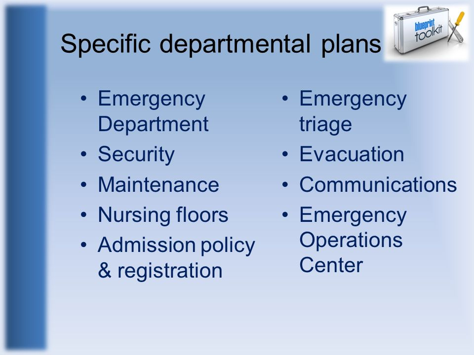 Specific departmental plans Emergency Department Security Maintenance Nursing floors Admission policy & registration Emergency triage Evacuation Commu