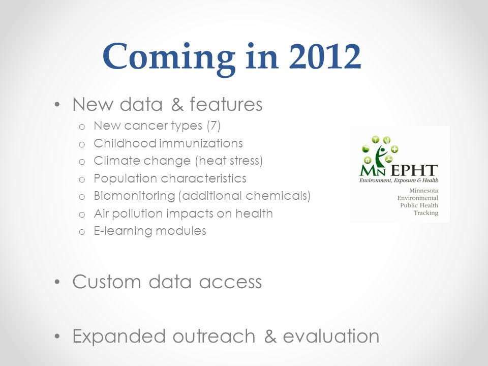 Coming in 2012 New data & features o New cancer types (7) o Childhood immunizations o Climate change (heat stress) o Population characteristics o Biom