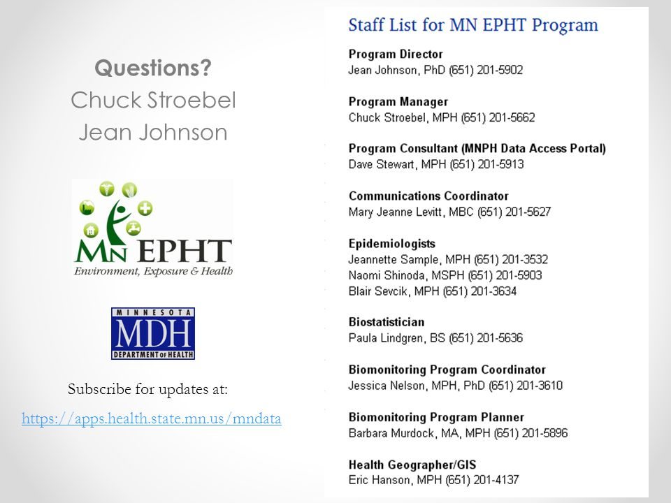 https://apps.health.state.mn.us/mndata Subscribe for updates at: Questions? Chuck Stroebel Jean Johnson