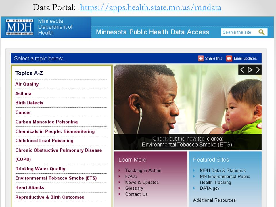 Data Portal: https://apps.health.state.mn.us/mndatahttps://apps.health.state.mn.us/mndata