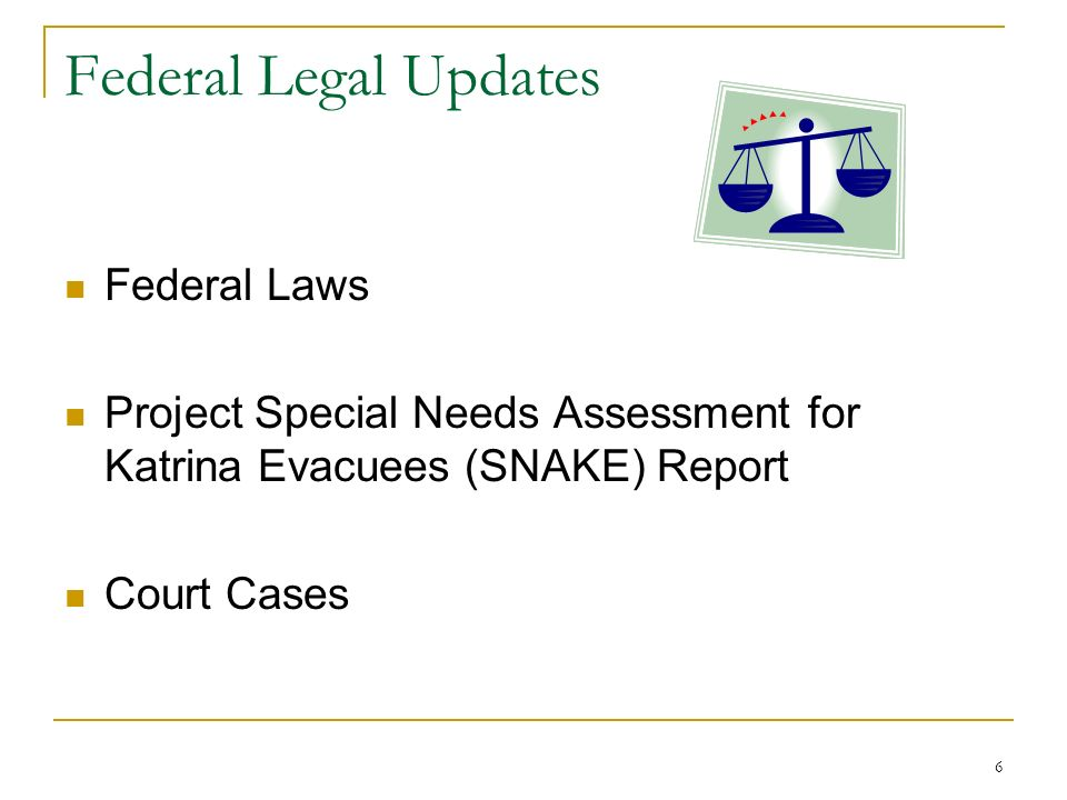 6 Federal Legal Updates Federal Laws Project Special Needs Assessment for Katrina Evacuees (SNAKE) Report Court Cases