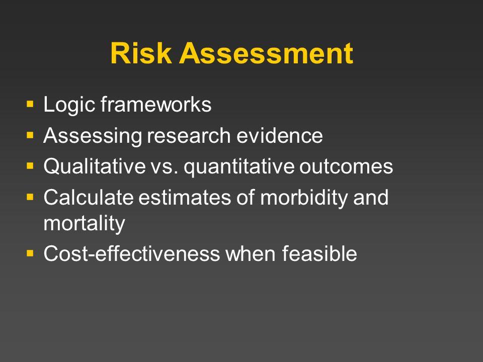Risk Assessment Logic frameworks Assessing research evidence Qualitative vs. quantitative outcomes Calculate estimates of morbidity and mortality Cost