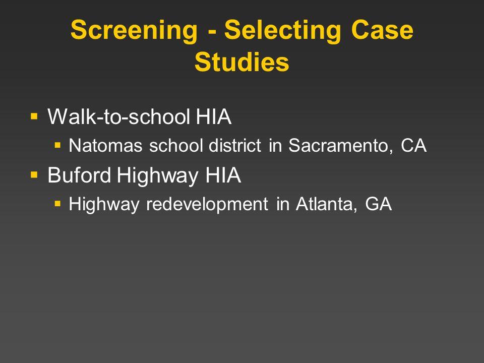 Screening - Selecting Case Studies Walk-to-school HIA Natomas school district in Sacramento, CA Buford Highway HIA Highway redevelopment in Atlanta, G