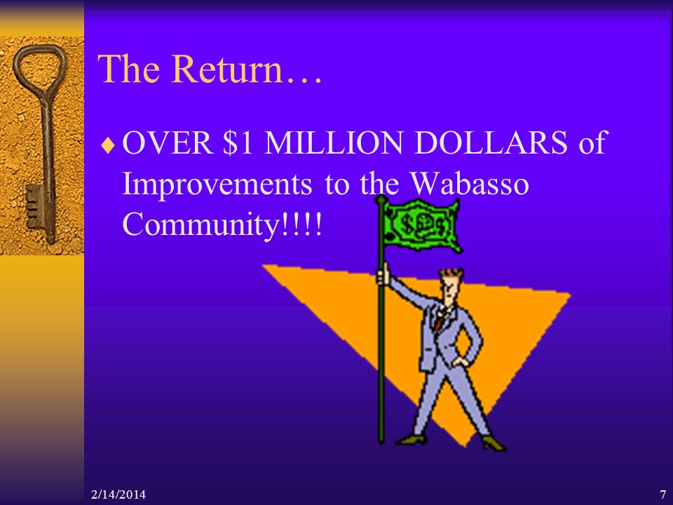 2/14/20147 The Return… OVER $1 MILLION DOLLARS of Improvements to the Wabasso Community!!!!