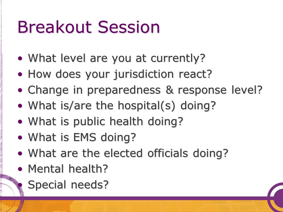 Breakout Session What level are you at currently?What level are you at currently? How does your jurisdiction react?How does your jurisdiction react? C