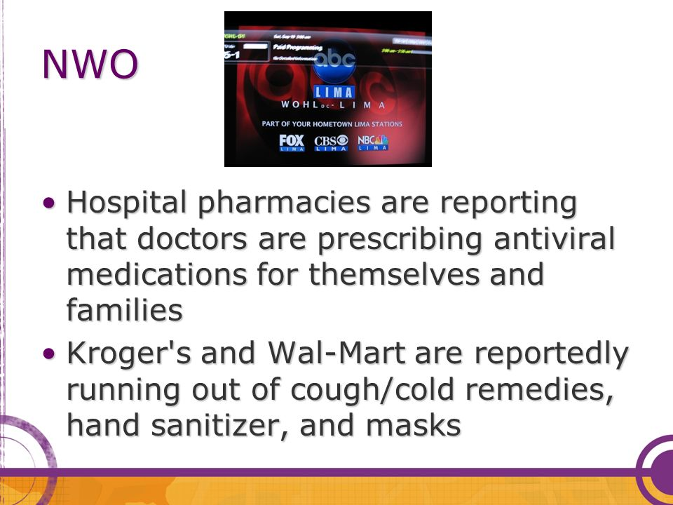 Hospital pharmacies are reporting that doctors are prescribing antiviral medications for themselves and familiesHospital pharmacies are reporting that