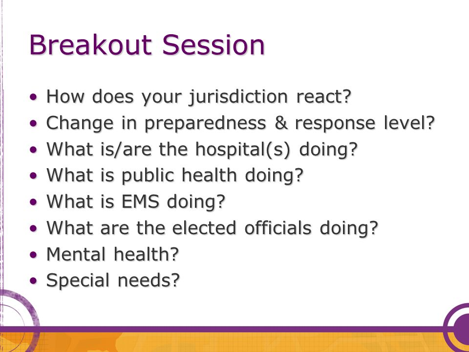 Breakout Session How does your jurisdiction react?How does your jurisdiction react? Change in preparedness & response level?Change in preparedness & r