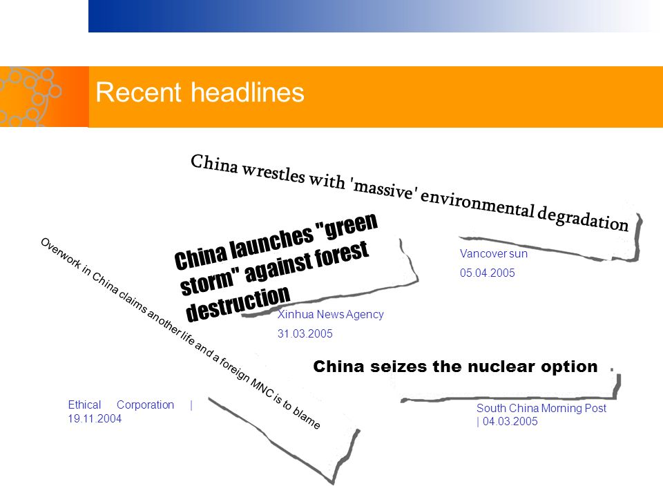 China seizes the nuclear option South China Morning Post | 04.03.2005 China wrestles with 'massive' environmental degradation Vancover sun 05.04.2005