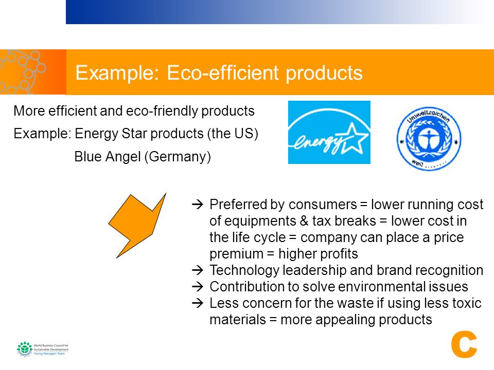 Example: Eco-efficient products More efficient and eco-friendly products Example: Energy Star products (the US) Blue Angel (Germany) Preferred by cons