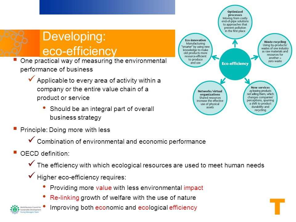 Developing: eco-efficiency Principle: Doing more with less Combination of environmental and economic performance OECD definition: The efficiency with