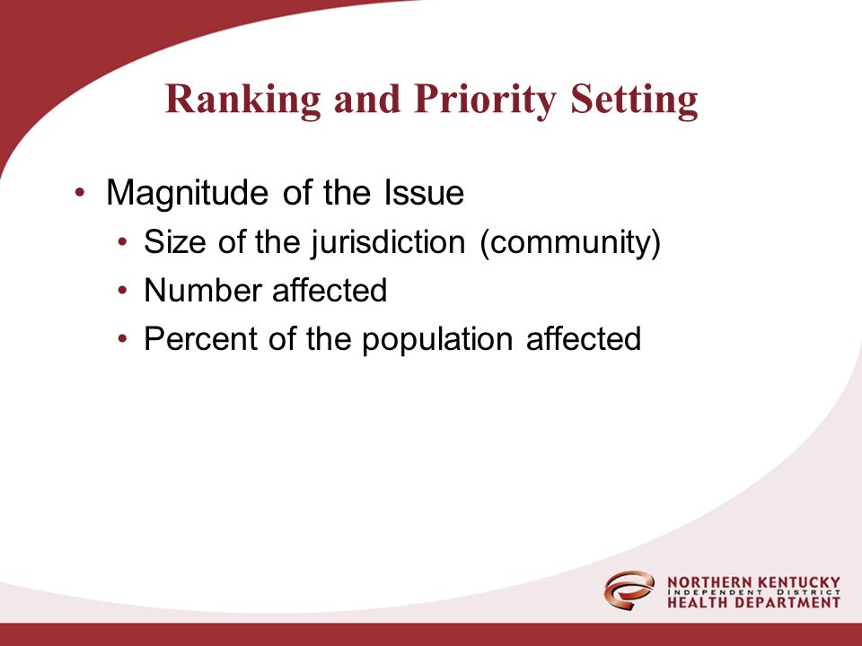 Ranking and Priority Setting Magnitude of the Issue Size of the jurisdiction (community) Number affected Percent of the population affected