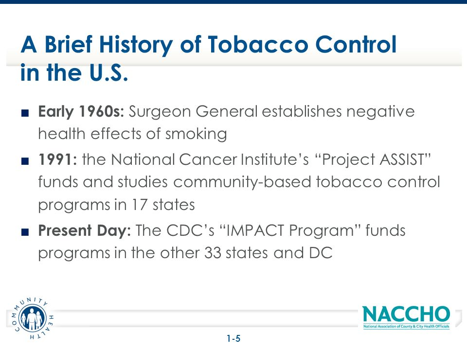 Early 1960s: Surgeon General establishes negative health effects of smoking 1991: the National Cancer Institutes Project ASSIST funds and studies comm